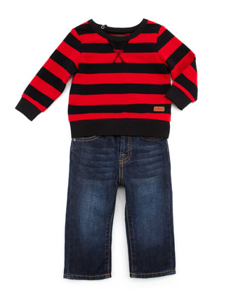 Striped Sweatshirt & Standard Fit Jeans Set, 12-24 Months