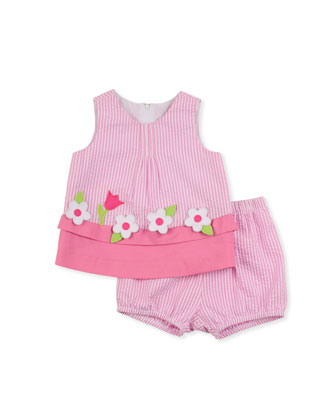 Windowbox Floral Seersucker Dress & Bloomers Set, Pink, 3-9 Months