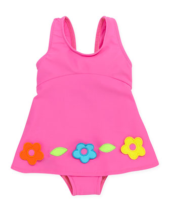 Flower One-Piece Swimsuit, Pink, 12-24 Months
