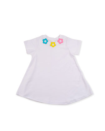 Flower Pullover Coverup, White, 12-24 Months