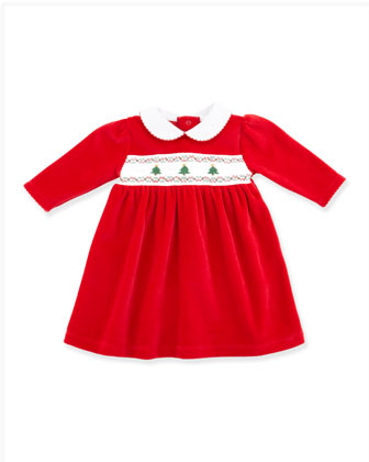 Holiday Velour Dress, Red