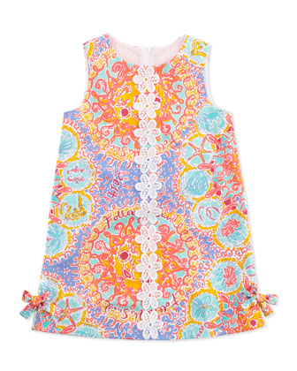 Floral & Coral-Print Little Lily Classic Shift Dress, Light Blue, Sizes 2-6