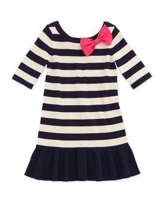 Adele Striped Sweater Dress, Navy, XS-M