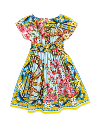 Mediterranean-Print Smocked-Waist Dress, 8-10