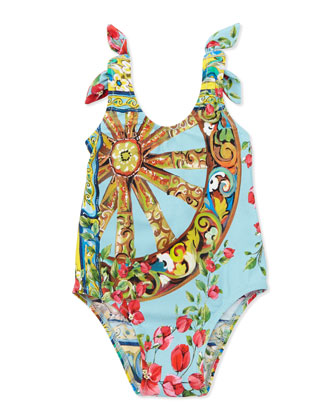 One-Piece Swimsuit with Ties, Open Blue Pattern, 3-18 Months