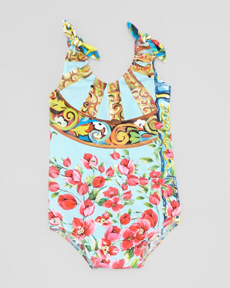 One-Piece Swimsuit with Ties, Open Blue Pattern