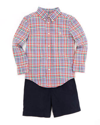 Multicolored Plaid Blake Shirt, Red, 4-7