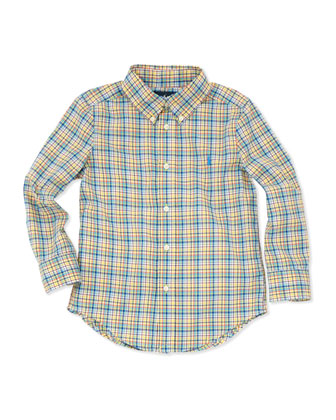 Plaid Long-Sleeve Blake Shirt, Yellow Multi, 4-7