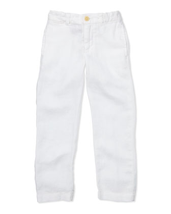 Suffield Linen Pants, White, 4-7