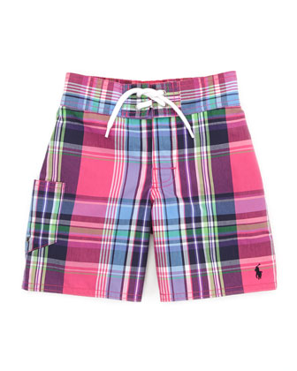 Tulum Plaid Swim Trunks, Pink/Multi, 2T-3T