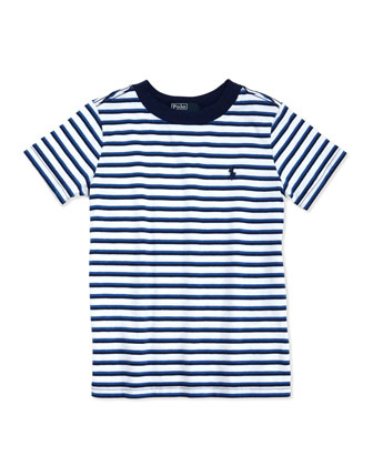 Striped Jersey Tee, White Multi, 2T-3T