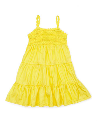 Crochet-Detail Sleeveless Sundress, Maitai Yellow, 4-6X