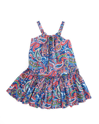 Little Paisley Sleeveless Sundress, Royal, 2-3T