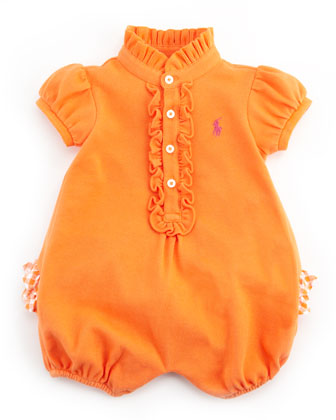 Pique Ruffle-Trim Bubble Playsuit, May Orange, 3-24M