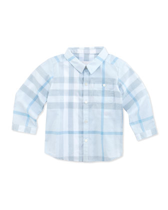Newborn Button-Down Check Shirt, Light Blue