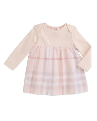 Knit/Check Combo Long-Sleeve Dress, Ice Pink, 3-24 Months