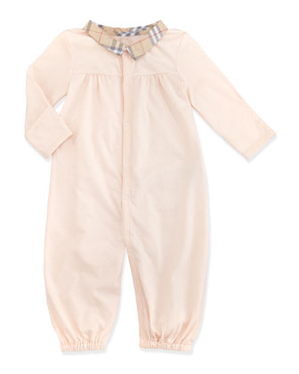 Newborn Check-Collar Long-Sleeve Playsuit, Light Pink