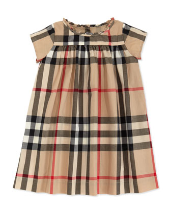 Check-Print Ruffle-Collar Dress, Tan, 2Y-3Y