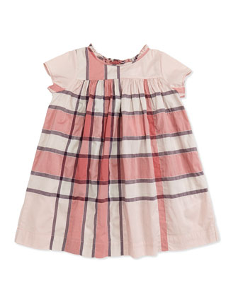 Check-Print Ruffle-Collar Dress, Pink, 2Y-3Y