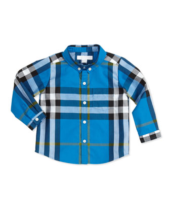 Long-Sleeve Patch-Pocket Check Shirt, Blue, 3-18 Months