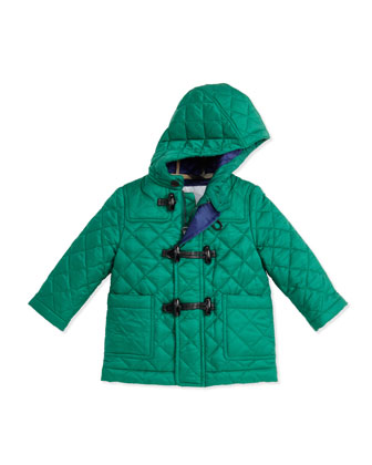 Quilted Nylon Toggle Coat, Green, 6-18 Months