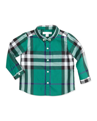 Long-Sleeve Patch-Pocket Check Shirt, Green, 3-18 Months