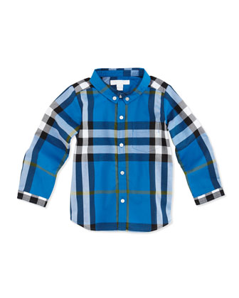 Infant Boys' Check Shirt, Blue, 2Y-3Y