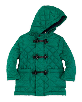 Quilted Nylon Toggle Coat, Green, 2Y-3Y