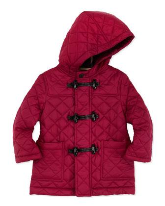 Quilted Nylon Toggle Coat, Magenta, 2Y-3Y