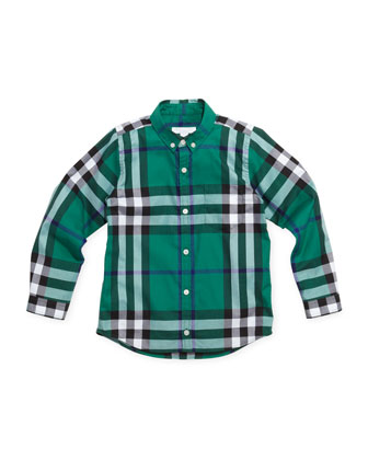 Infant Boys' Check Shirt, Green, 4Y-10Y