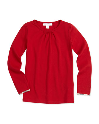 Check-Trim Jersey Top, Red, 4Y-10Y