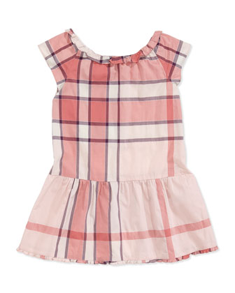 Cap-Sleeve Check Dress, Pink, 4Y-10Y