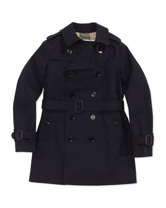 Boys' Gabardine Trench Ink, Cobalt, 4Y-10Y