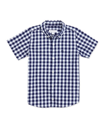 Boy's Gingham Short-Sleeve Shirt, Blue, 4Y-10Y