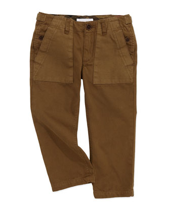 Casual-Fit Twill Utility Pants, Khaki, 4Y-10Y