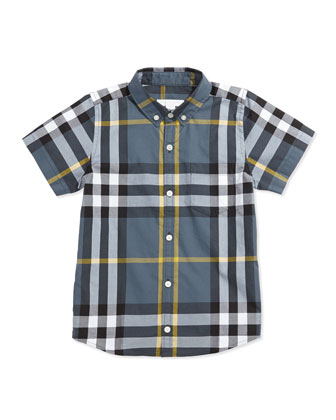 Short-Sleeve Check Shirt, Blue, 4Y-10Y