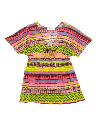 Raffia Geometric-Stripe Cover-Up, Sizes 2-7