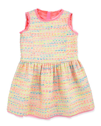 Neon Flecked Tweed Dress, Multi, Sizes 8-10