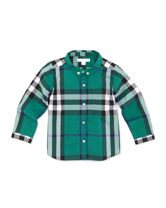 Infant Boys' Check Shirt, Green, 2Y-3Y