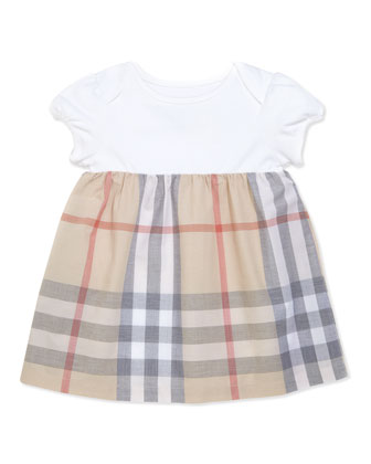 Infant Girls' Check Dress, Beige, 3-18 Months