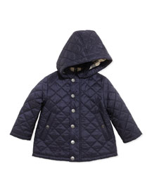 Jerry Lightweight Quilted Jacket with Hood, Navy, 6-18 Months