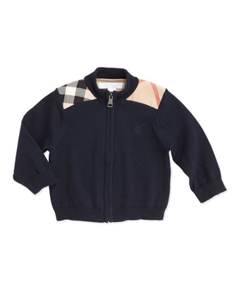 Woven Check-Shoulder Zip Cardigan, Navy, 6-18 Months