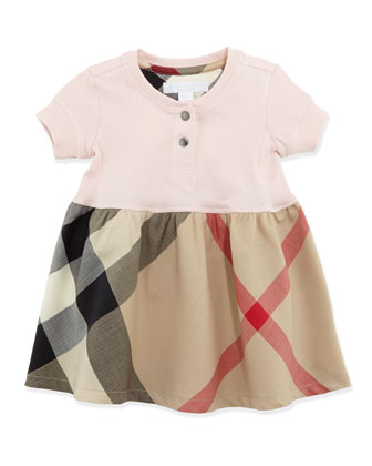Infant Girls' Henley Dress, Pink, 6-18 Months