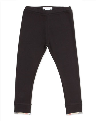 Girls' Check-Trim Leggings, Black, 4Y-10Y