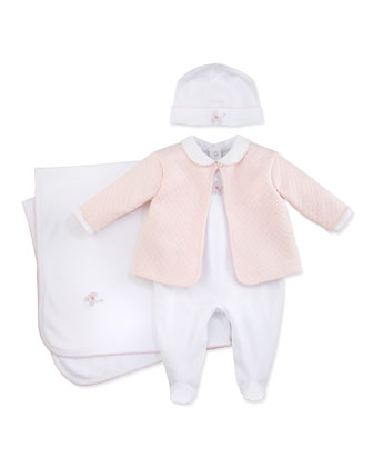 Baby Pram Two-Piece Jacquard Footie & Jacket Set, White/Blue