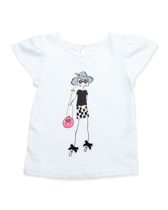 Milly Girl Flutter-Sleeve Tee, White, Sizes 8-10