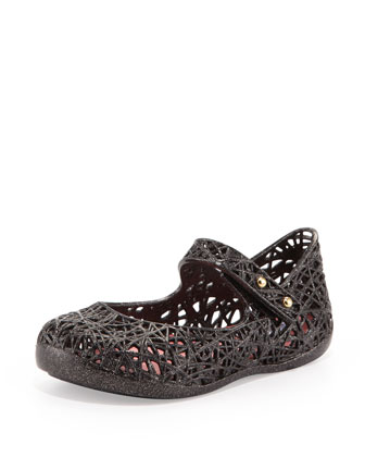 Mini Melissa + Campana Zig Zag IX Jelly Mary Jane, Black