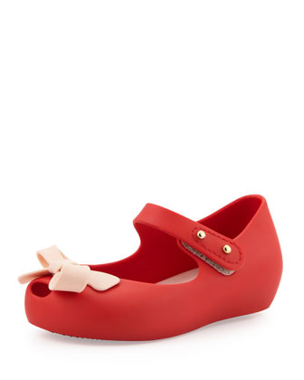 Mini Ultragirl Bow Jelly Flats, Red