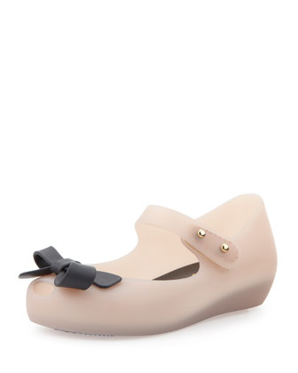 Mini Ultragirl Bow Jelly Flats, Pink/Black