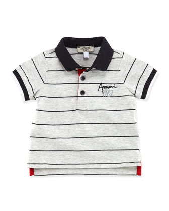 Infant Boys' Striped Logo Polo, Gray, 3-24 Months